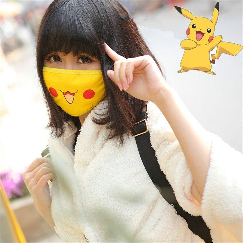 Новые Мультяшные Pokemon Pocket Monster Pikachu маскарадные маски из хлопка для женщин и девочек с изображением улыбки Kawaii Солнцезащитная маска для путешествий на открытом воздухе