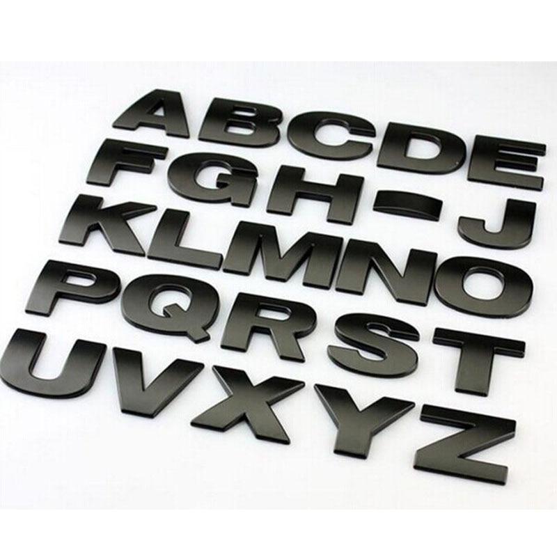 1 Uds diseño de coche 3D metal letras emblema Digital figura número cromo adhesivos para coches DIY plata negro coche styling metal sticker