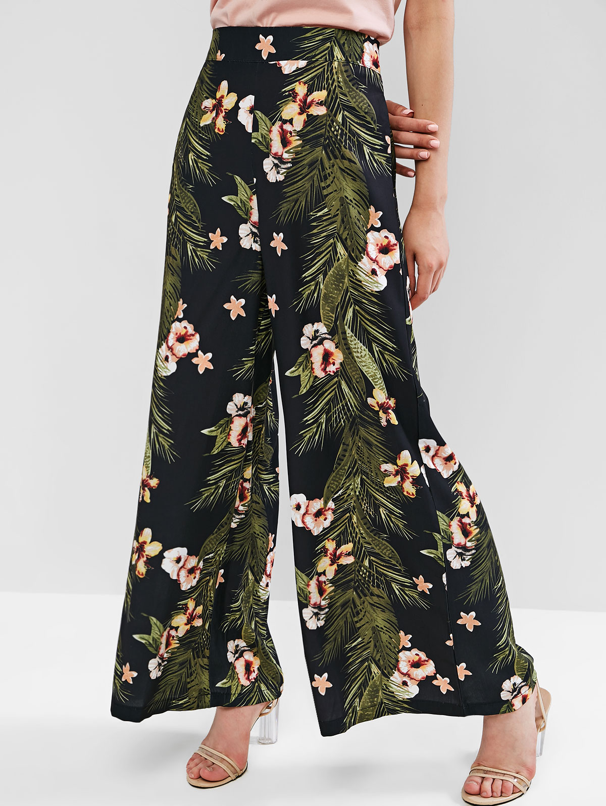 ZAFUL 2019 Pantalones de mujer hojas florales bolsillos de costura pantalones de Mujer Pantalones de pierna ancha mujer verano playa pantalones bohemios