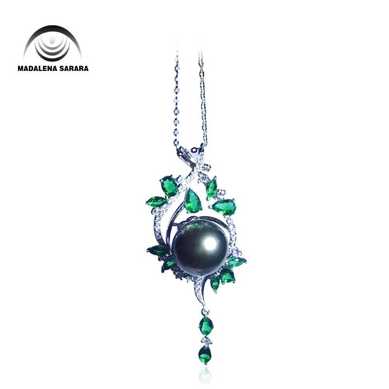MADALENA SARARA S925 AAA agua salada incrustaciones de perlas perla tahitiana collar de cadena de plata esterlina AAAA de gota collar de estilo