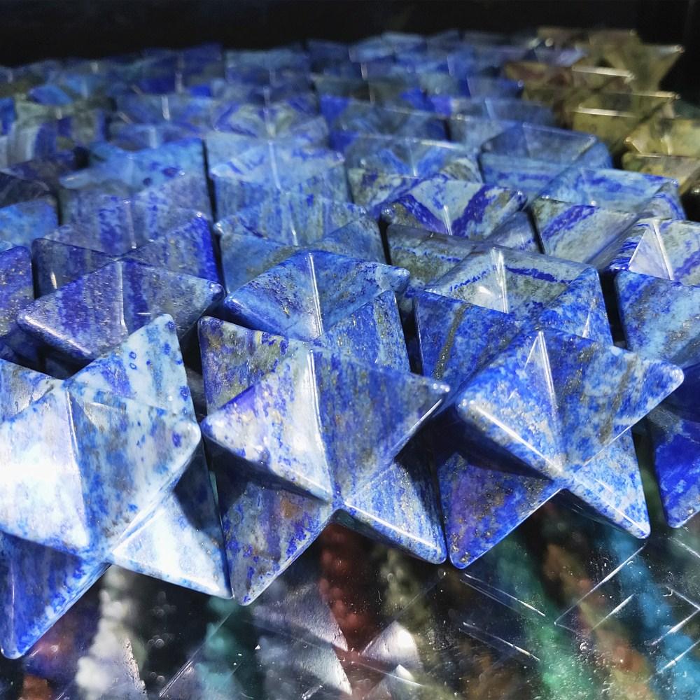 100g Natural lapis lazuli cristal de quartzo Merkaba Estrelas azuis Lazurite Pingente Jóias Colar Cura Minerais Energia Merkabah