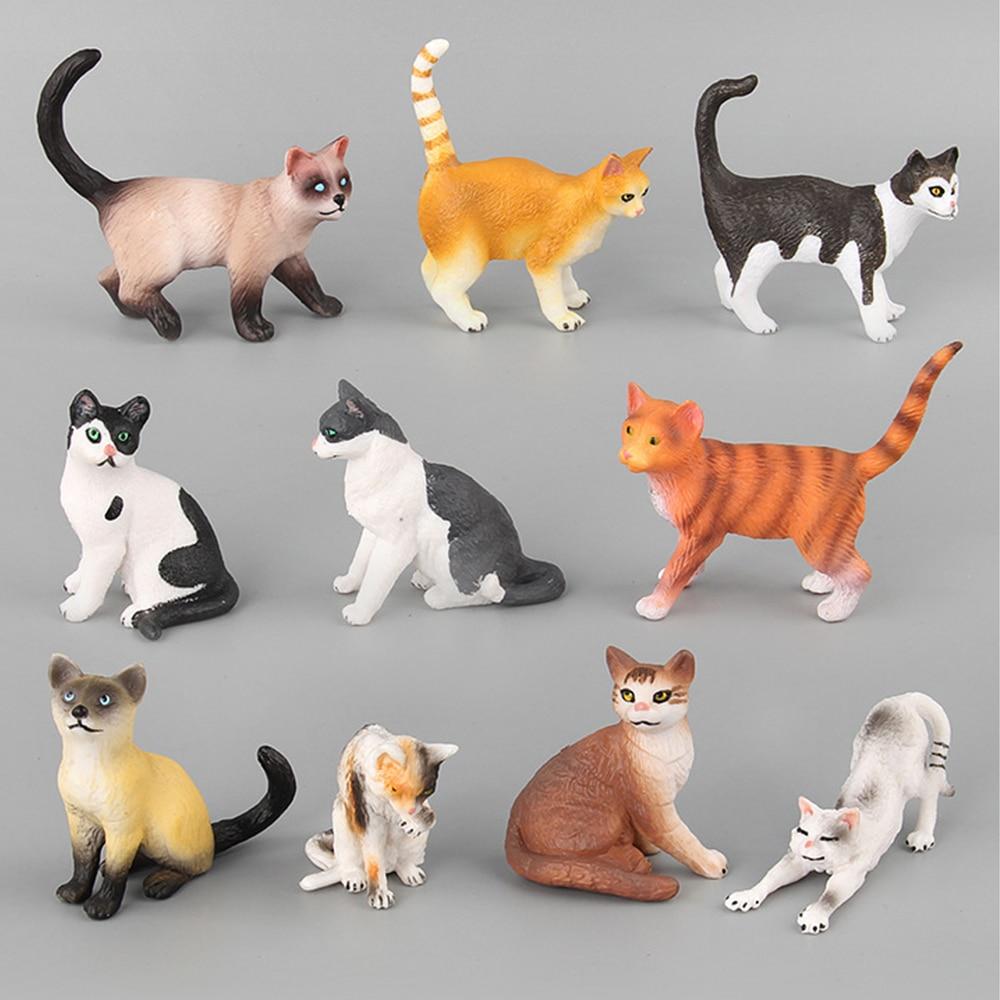 Juguetes de gato de simulación, figuras de animales de juguete para niños, figuras de acción de plástico, muñeco de regalo divertido, figura decorativa para el hogar, gatos