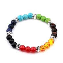 Multi-couleur hommes Bracelets Malachite lave Chakra guérison équilibre perles Bracelet pour les femmes Reiki prière Yoga Bracelet pierres