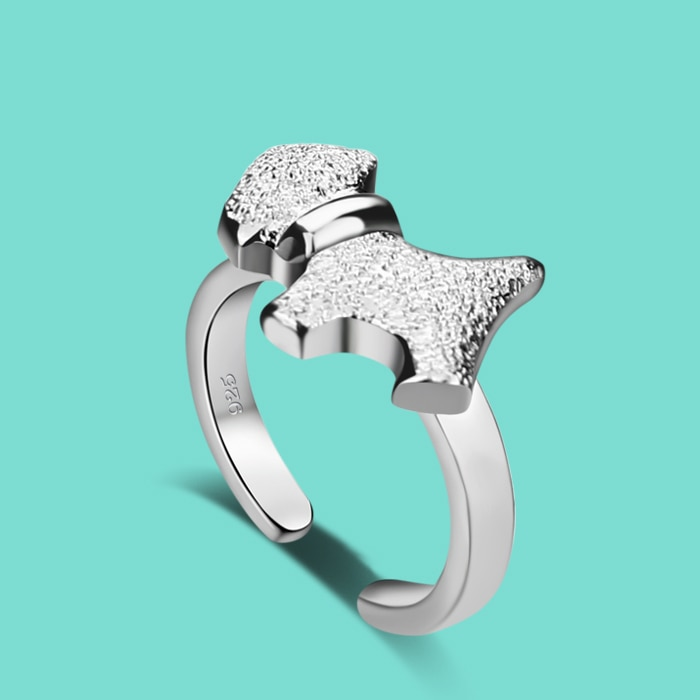 Mulher 925 anel de prata esterlina, cão bonito design abertura sólida anel de prata senhora popular jóias do corpo de prata presente de aniversário amante