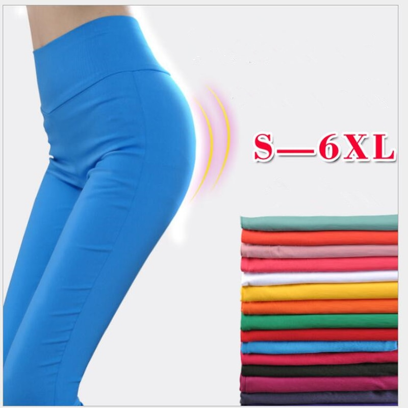 Shikoroleva Leggings de talla grande 5XL 6XL cintura alta estiramiento Color caramelo rosa azul marrón rojo Sexy lápiz Pantalones Jeggings señora