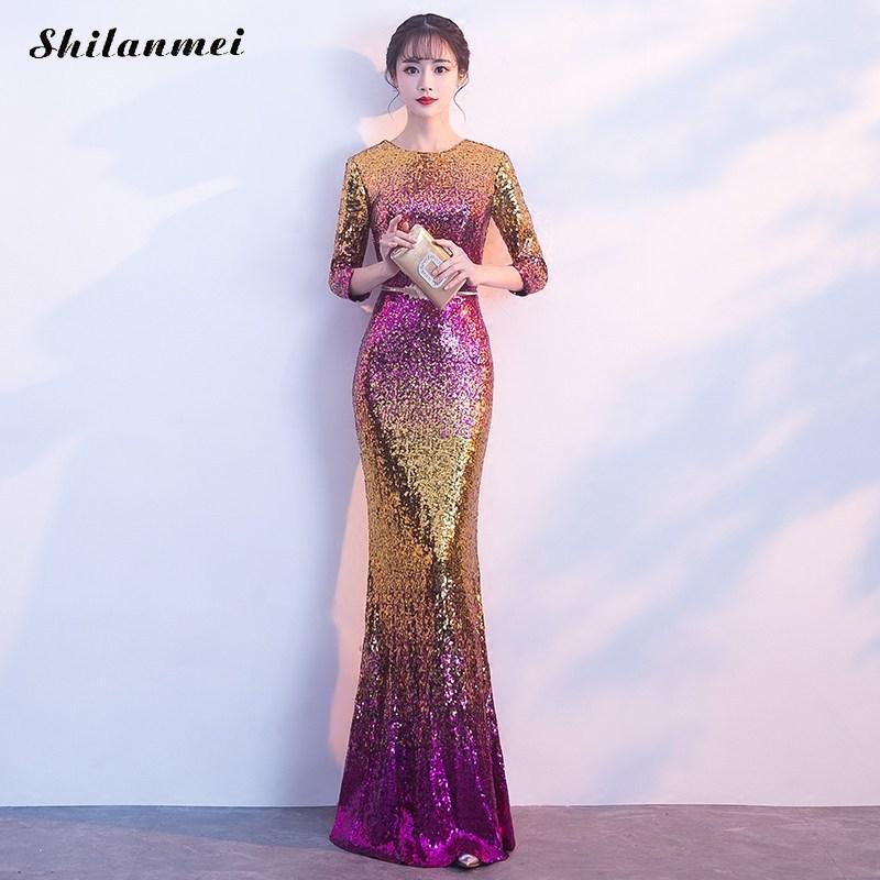 New Fashion Long Sleeve Sequin Long Evening Party Dress Summer Mermaid Dresses For Women 2019 Belt Slim Shining Vestidos XS-XXL