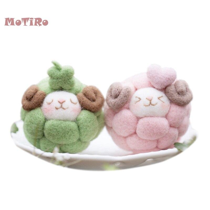 MoTiRo,Non-Finished Felt Material DIY Package,Cute Sheep Pattern Wool Kitting Pocked Felt Mobile Dust Plug/Pendant/Decoration