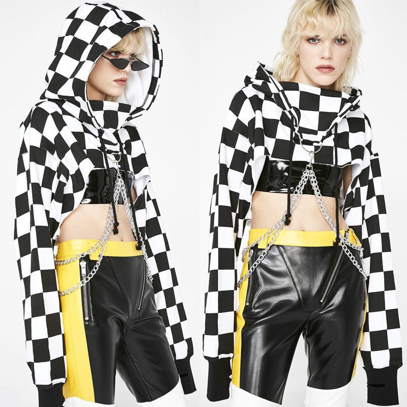Women Gothic Punk Hoodie Sweatshirt Jumper Crop Top Casual Pullover Tops