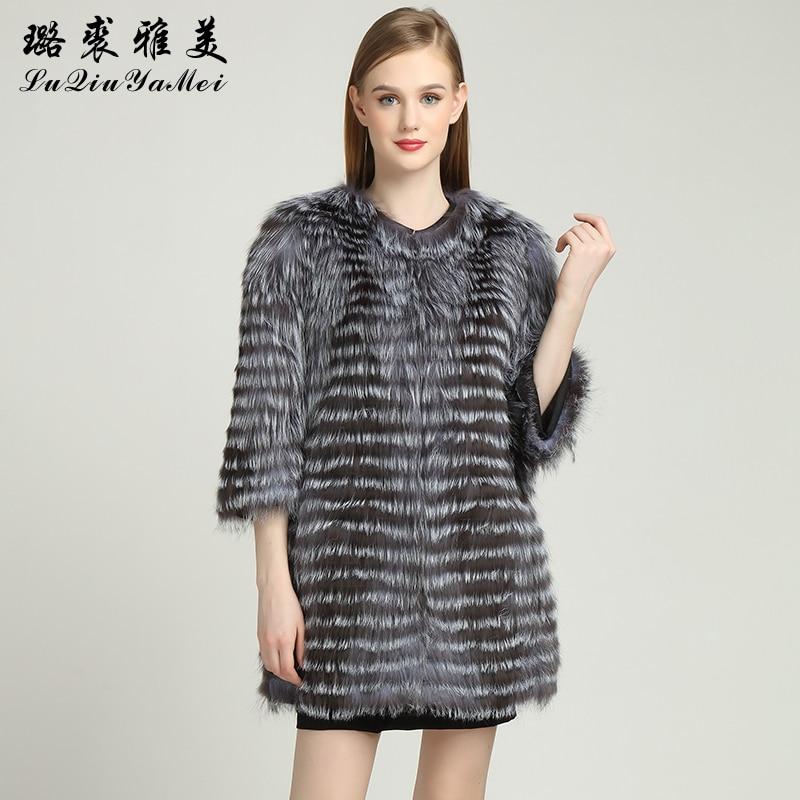 Genuine Leather Silver Fox Fur Coat For Women Real Fur Coat Winter Female Jackets Slim Fox Striped Coats Fur Fashion Outwear