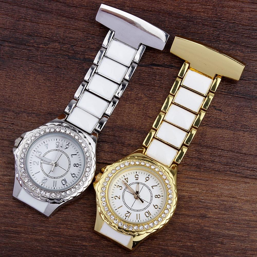 Luxury Crystal Nurses Watch FOB Pocket Watch Analog Clip-on Hanging Brooch Elegant Womens Fashion Nurses Gift Watches