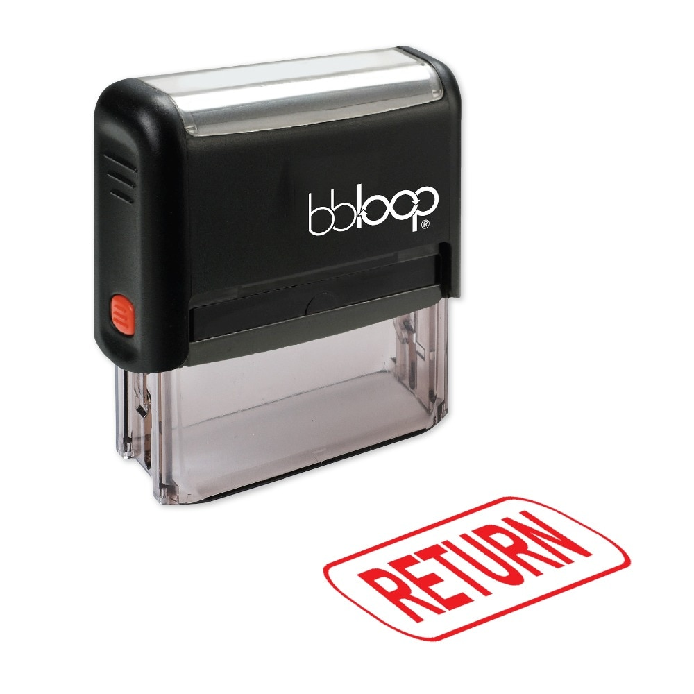 "BBloop ""RETURN"" con sello autoentintado de caja de borde, Rectangular, grabado con láser, rojo/azul/negro"