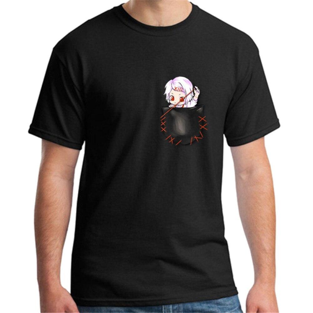 Estilo japonés Tokyo Ghoul Suzuya bolsillo hombres camiseta manga corta Camiseta Hombre Casual algodón camiseta camisetas