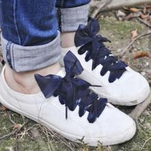 1 par de cordones planos de 110cm para zapatos deportivos con cinta de satén de seda, zapatillas con cordones, cordones para zapatos, lazo de encaje
