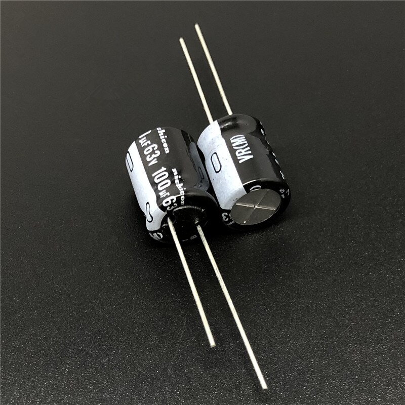 10 uds/100 Uds 100uF 63V NICHICON VR serie 10x10x12,5mm 63V100uF condensador electrolítico de aluminio