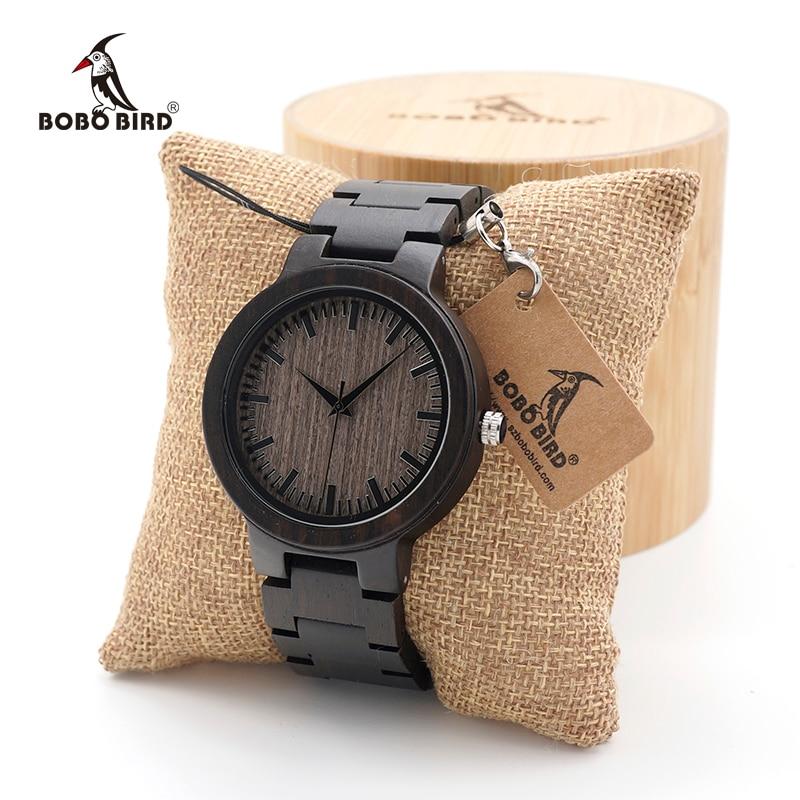 Мужские часы BOBO BIRD, черные деревянные часы с деревянным ремешком, кварцевые аналоговые часы kol saati с роскошным циферблатом диаметром и логот...