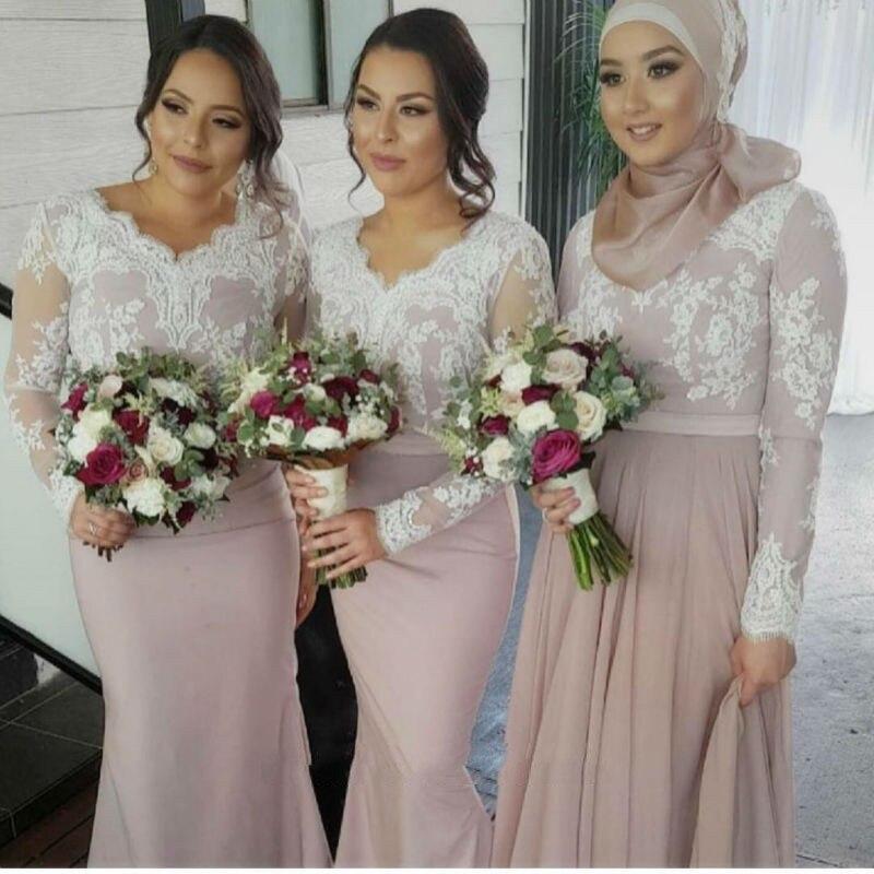Robe demoiselle d'honneur Long Sleeves Mermaid Pink Muslim Bridesmaid Dresses Lace Applique Arabic Prom Dresses Party Gown