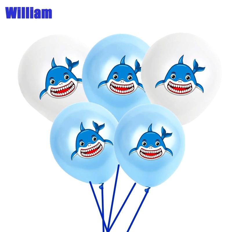 12 дюймов 10 шт., латексные воздушные шары Smile Shark для дня рождения, украшения детский душ, морская тематическая вечеринка на день рождения, ден...