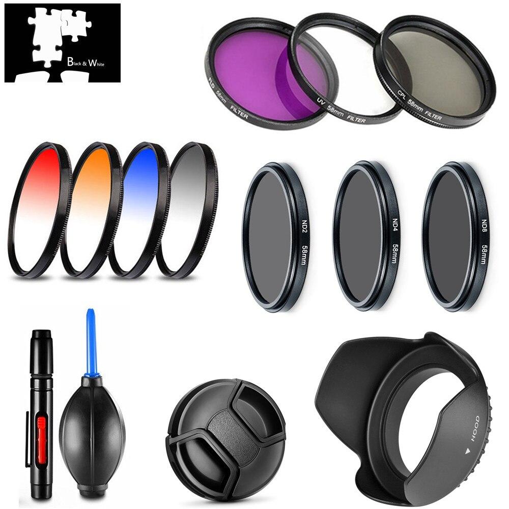 UV CPL FLD Star ND2 ND4 ND8 Filtro de Color Gradual tapa de lente para Canon EOS M M2 M3 con EF-M 18-55mm 55-200mm lentes Cámara
