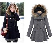 Fashion Detachable Faux Fur Hood Woolen Jacket, Sweet Peplum Design Double Breasted Ladies Wool Jacket