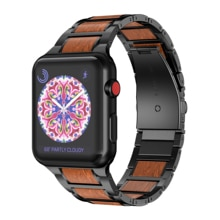 ANBEST Lightweight Wood strap for Apple Watch Band 4 5 40mm 44mm Metal Wristbands Replacement for Se