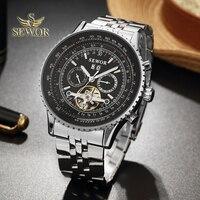 SEWOR Sport Watch New Fashion Full Steel Stopwatch Tourbillon Automatic Watch Men часы мужские BLACK C422