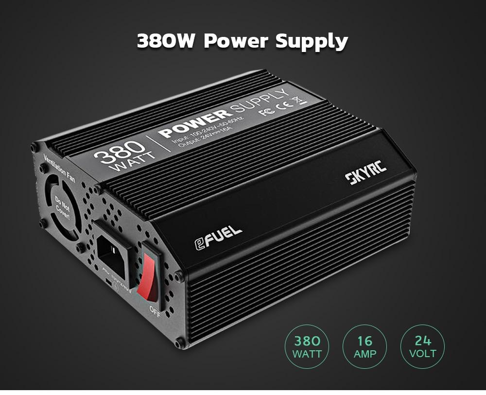 SKYRC EFUEL 380W 24V 16A adaptador de fuente de alimentación de alta salida de CC para una gran cantidad de cargadores de CC SKYRC B6 nano y e4Q cargador