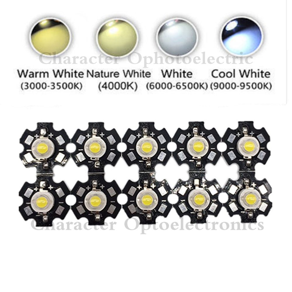 25pcs 3w cree high power led light emitting diode leds chip with aluminum star pcb warm white cold white red green blue yellow 10PCS 3W High Power LED Chip Light White Red Blue Green IR 850nm 940nm light-emitting diode
