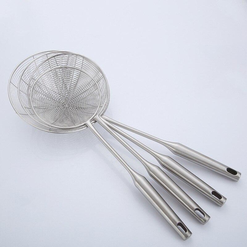 Cuchara con colador de acero inoxidable 304, red de drenaje de bolas de masa, filtro frito, cuchara, red frita, cerca, filtro, utensilios de cocina, 4 tamaños