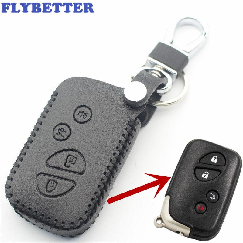 Flybetter couro genuíno 4 botão caso chave inteligente capa para lexus lx470/gs450h/is350/sc430/ls460/es350/gs350 estilo do carro l37