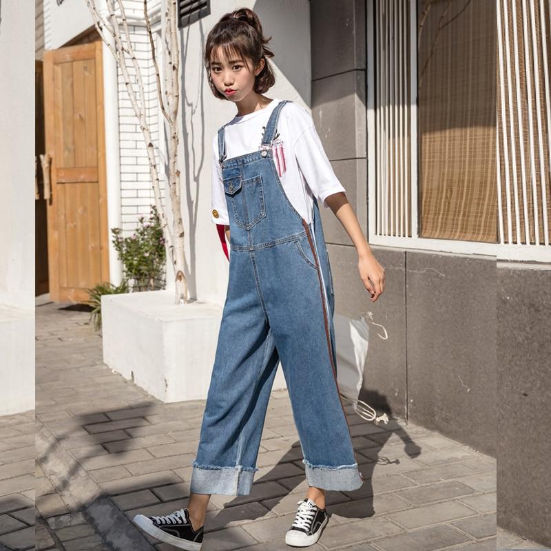 casual playsuits 2019 new loose jumpsuit pants denim women jumpsuit harajuku jumpsuit summer overalls denim overalls women gx190
