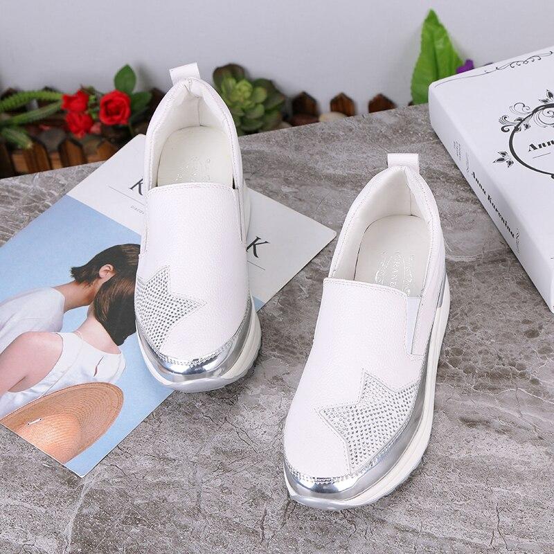 Wdhkun 2020 conforto creepers bling mocassins sapatos de plataforma prata mulher deslizamento no balanço sapatos femininos apartamentos zapatos de mujer