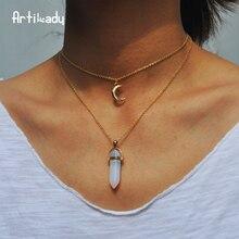 Artilady naturel opale pierre lune collier ras du cou mode or couleur pierre pierre cristal pendentif collier pour les femmes 11