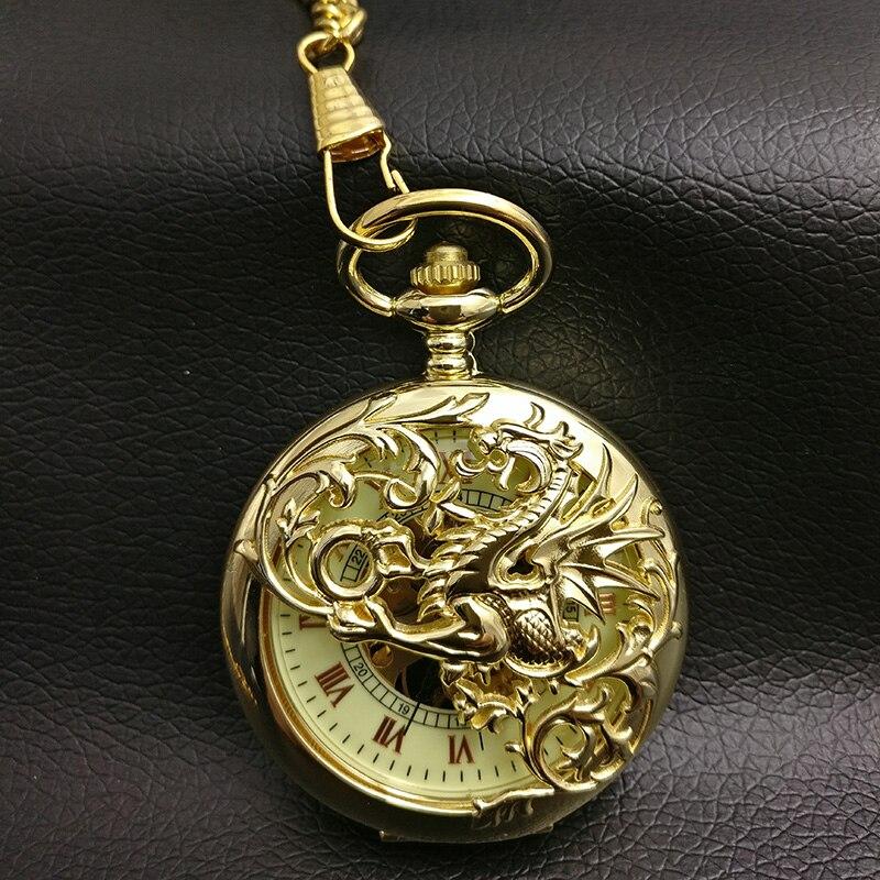 Reloj de bolsillo mecánico dragón dorado hombre esqueleto Steampunk Fob relojes hombre romano padre regalo nuevo Vintage Retro viento de mano