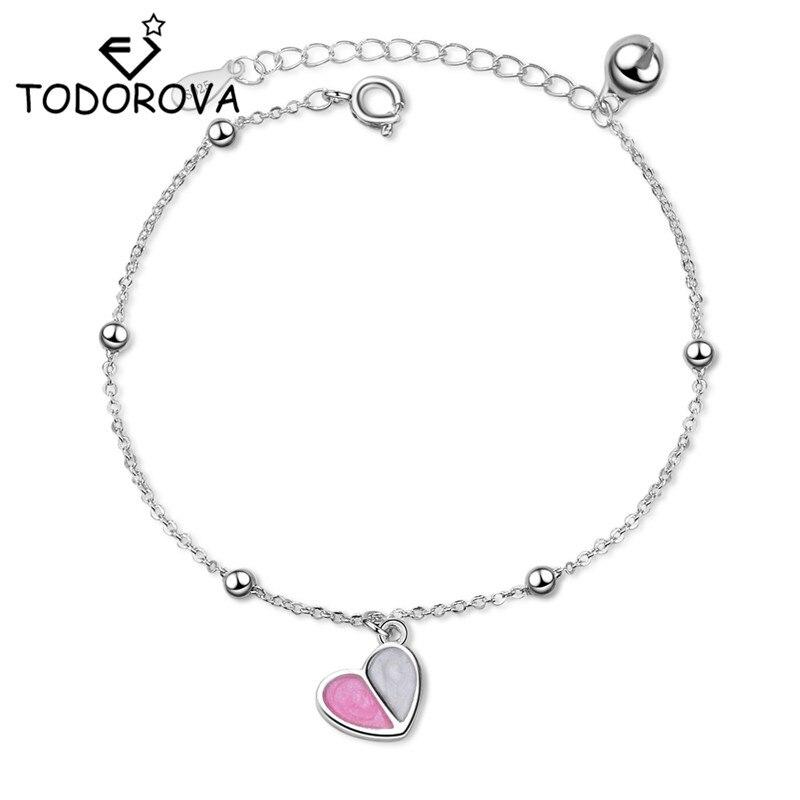 Pulsera de corazón esmaltado de estilo coreano Todorova, accesorios para mujer, pulsera de eslabones de cadena, joyería de boda, pulseras de amistad