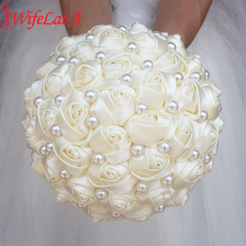 Wifelai-uma cor pura marfim nupcial casamento bouquet creme cetim rosa flores artificiais bouquet de novia à venda W322-2