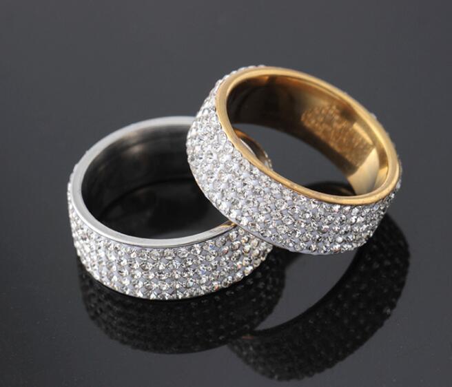 Женское кольцо в стиле хип-хоп, с золотыми кристаллами, 5 рядов