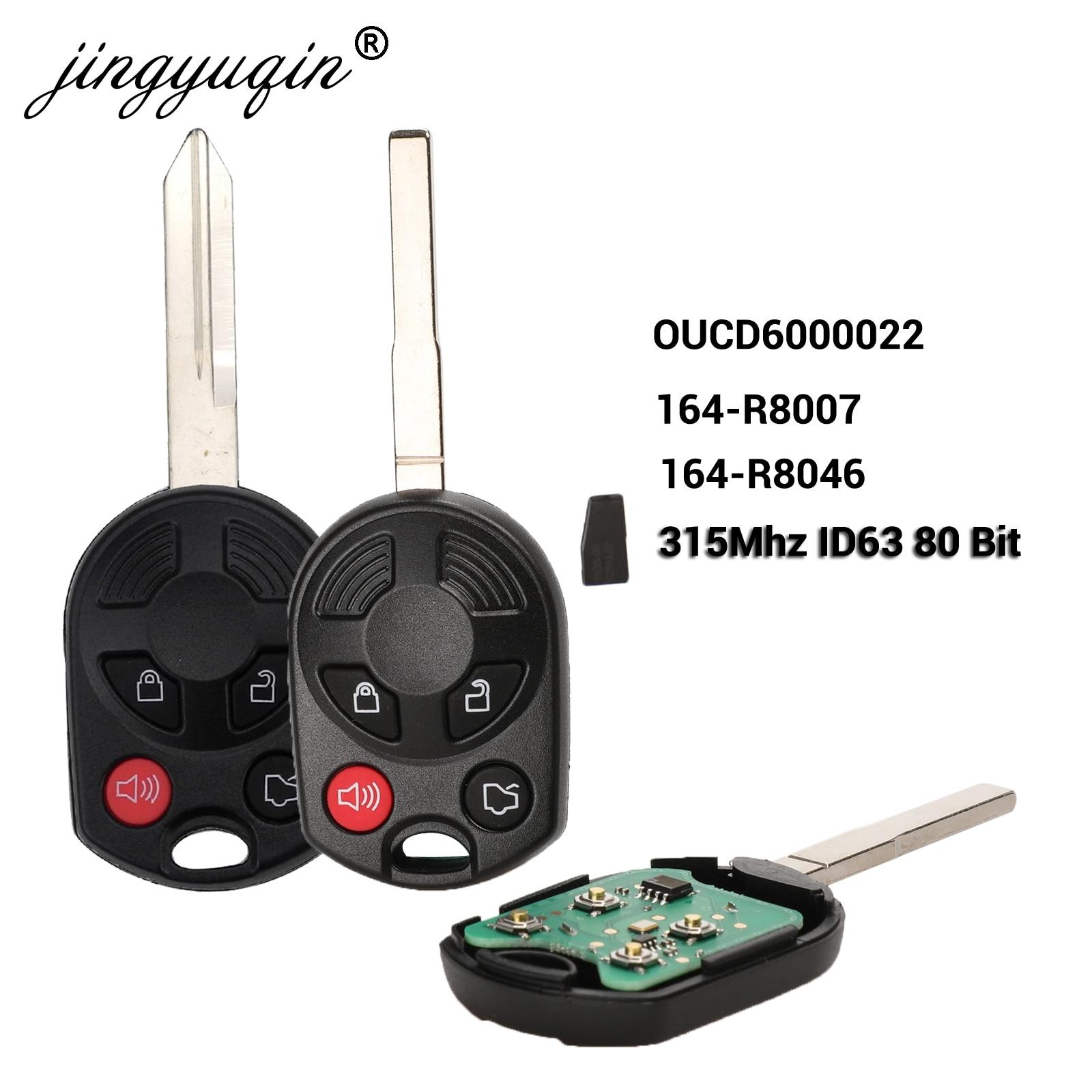 Jingyuqin дистанционный ключ-брелок от машины для Ford C-Max Edge Escape Focus Lincoln Mazda Mercury OUCD6000022 315Mhz передатчик ID63 80bit 4B