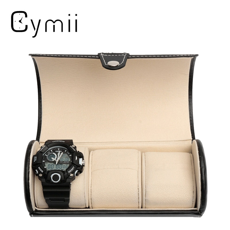 Black 3 Slot Cylindrical Watch Travel Case Leather Roll Jewelry Watch Storage Holder Watchbox Case Collector Organizer