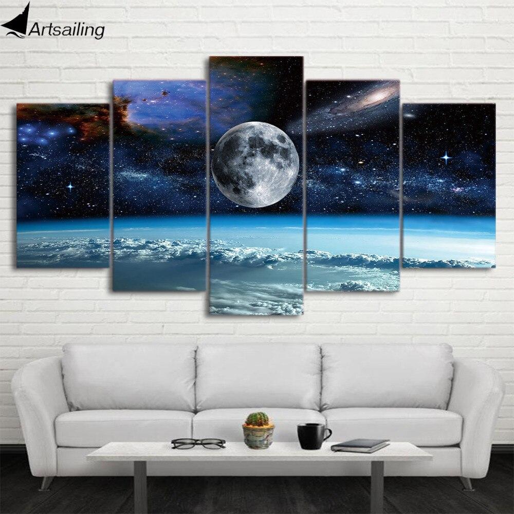 HD печать, 5 шт., парусина, художественная живопись космическим пространством, луной, звездой, модульная рамка, парусина, домашний декор, посте...