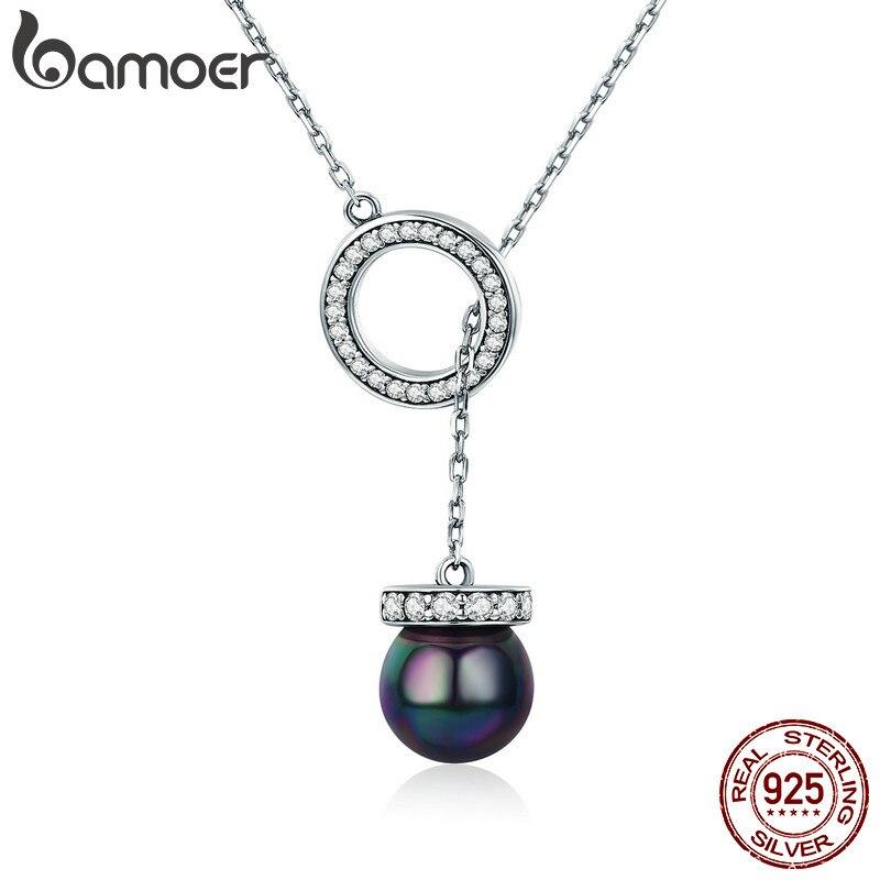 BAMOER 100% 925 Sterling Silber Kreis Schwarz Shell Perle Elegante Lange Kette Frauen Anhänger Halskette Silber Schmuck SCN200