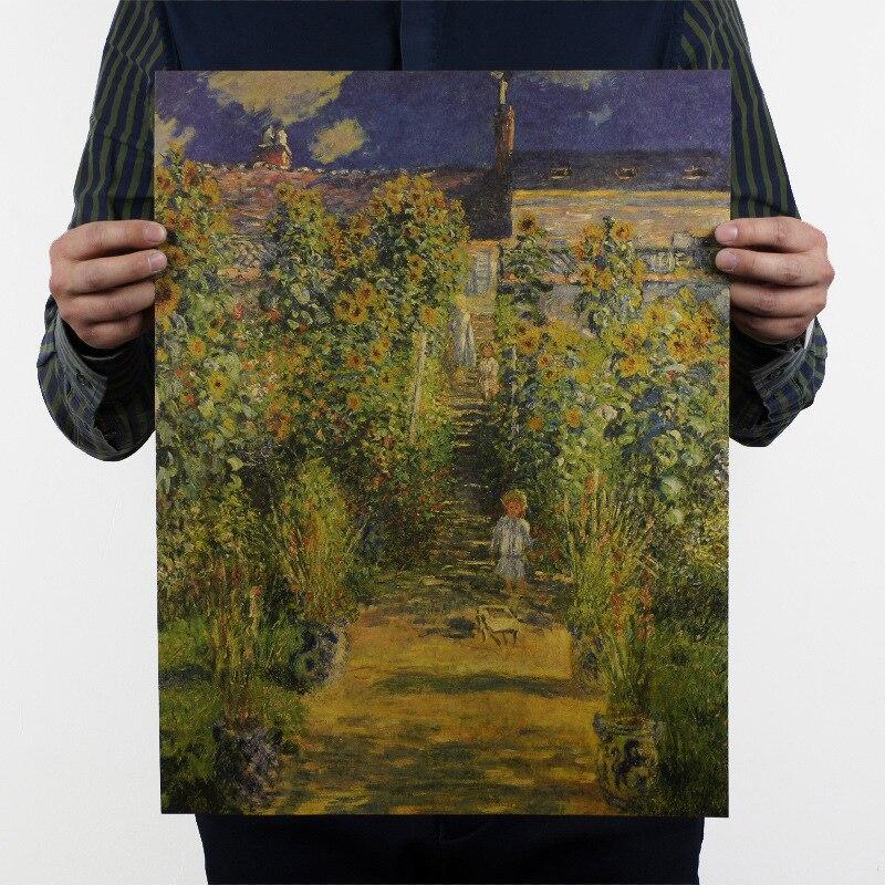 Póster Retro de Papel Kraft para decoración del hogar, Monet de decoración...