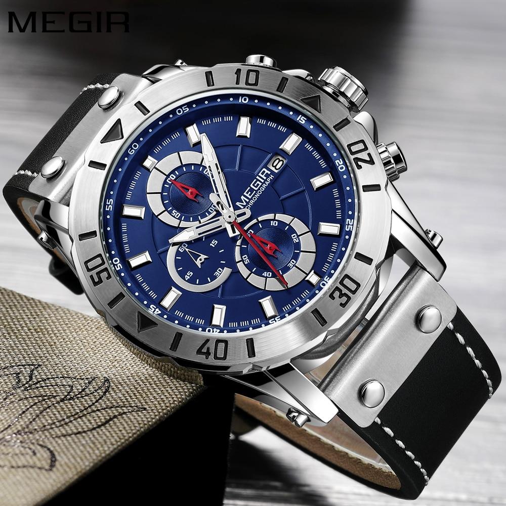 Часы Megir Мужские кварцевые с хронографом брендовые люксовые модные повседневные