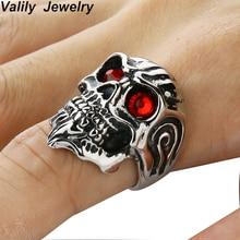 Anneaux de crâne pour hommes Valily anneau de groupe de crâne de Punk Rock de moteur de Biker avec les yeux rouges en acier inoxydable mode Punk squelette anneaux dorés