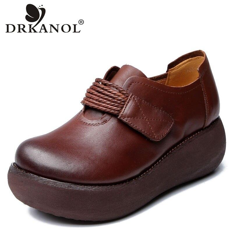 DRKANOL الربيع أحذية النساء اليدوية جلد طبيعي النساء أحذية منصة مسطحة سميكة القاع منصة كعب حذاء كاجوال الإناث