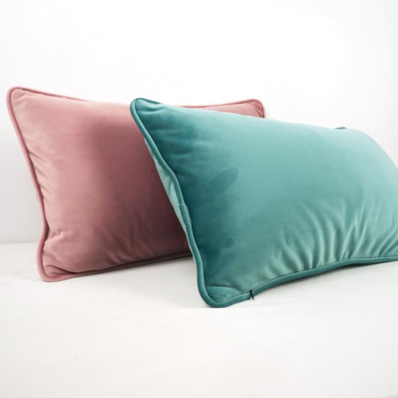 Funda de cojín de terciopelo grueso con diseño de manga pastelera rosa y azul funda de almohada para sofá cama sin bolas decoración del hogar sin relleno