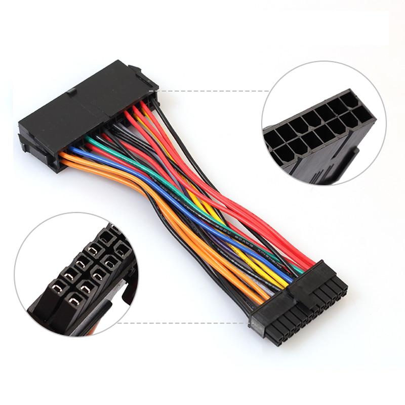 ATX Большой 24Pin поворот маленький 24Pin компьютер шнур питания удлинительные кабели адаптера материнской платы Линия для ноутбука компьютера шнур 15 см