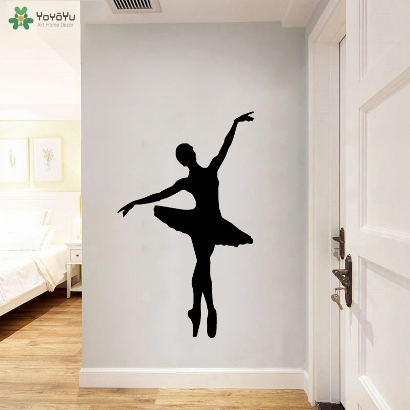 Calcomanía de pared yoyoyu bailarina Ballet estudio Dancer vinilo Adhesivo de pared estudio de baile arte Poster bailarina hermosa decoración de vinilo QQ234