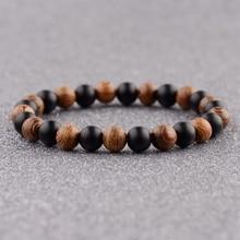 DOUVEI 2018 Ethinc Yoga bois et pierre noire perles Bracelets hommes méditation Yinyang élastique Bracelet femmes prière bijoux ABJ036