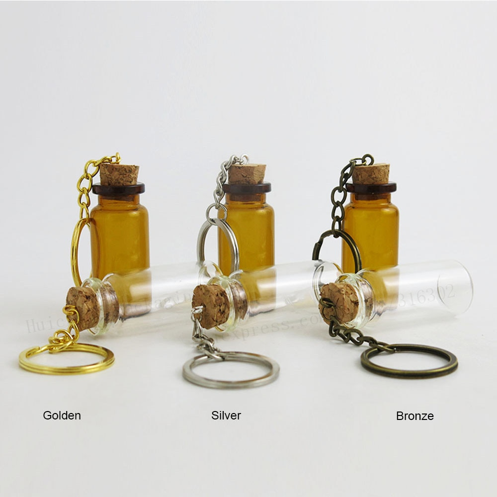 500X10 مللي 8M 7 مللي 6 مللي 5 مللي فارغة البسيطة AmberGlass زجاجات مفتاح سلسلة المعلقات فيال صغيرة متمنيا الفلين الفنون الجرار ل أساور هدايا