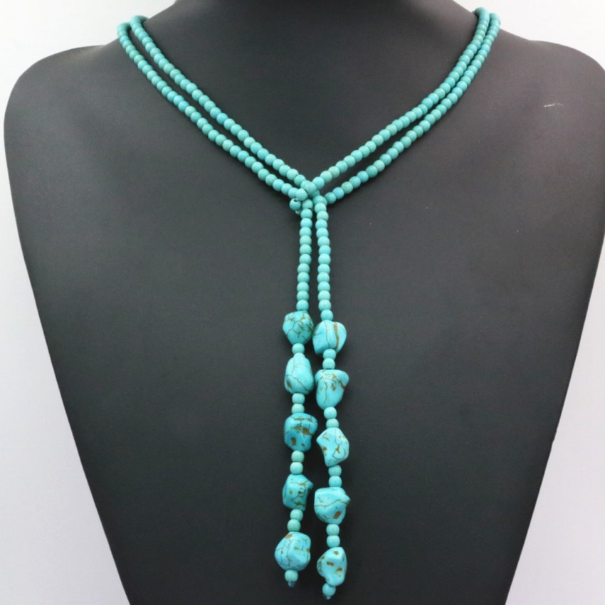 Hot sale Bohemia estilo 4mm calaite turquesas pedra redonda contas de colar de cadeia longa declaração mulheres jóias diy 50 polegada b3190